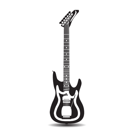 Vector illustration of solo electric guitar isolated on white background. Illustration