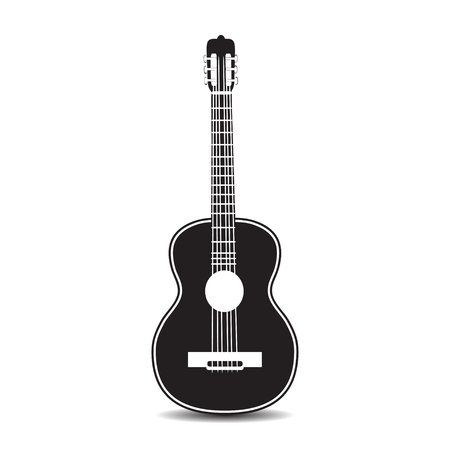 Vector black and white illustration of classic guitar isolated on white background. Flat style design.