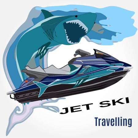 Vector illustration of water scooter, waves and shark isolated. Jet ski rental template in flat style.