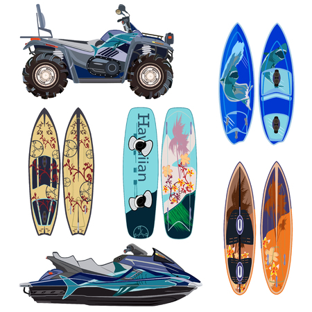 Vector beach sport equipment icons set. Water scooter, quad bike, two sides of surfing boards and wakeboard isolated on white background. Flat style design.