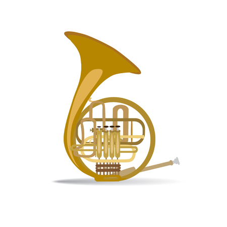 Vector illustration of french horn isolated on white background. Wind brass musical instrument, flat style design.