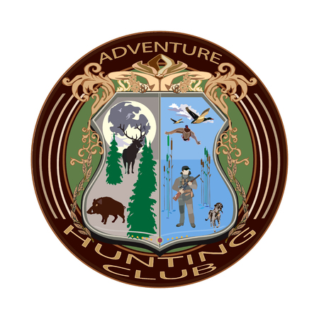Adventure hunting club badge vector illustration in flat style. Typography design for logo, print.
