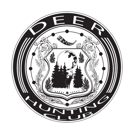 logo music: Deer hunting club badge vector illustration in flat style. Black and white typography design for logo, print.