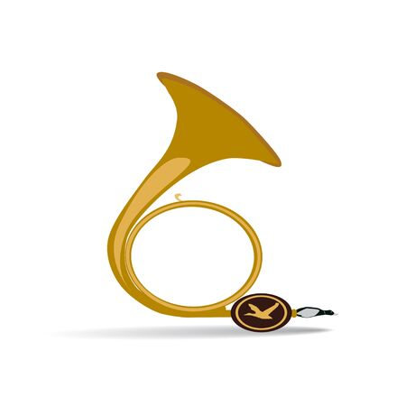 cornet: Vector illustration of traditional hunting horn, isolated on white background. Flat style design element.