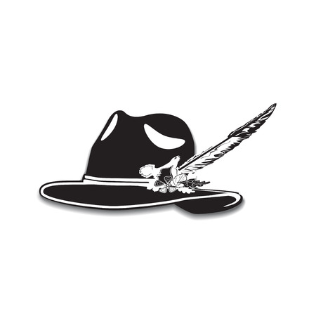 Vector illustration of hunting hat with feather and metal badge with blackcock, oak leaves and acorns. Black and white flat style design.