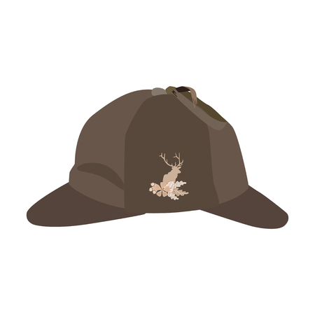 inquiry: Vector illustration of detective sherlock holmes hat isolated on white background. Brown deerstalker hat with cloth badge deer silhouette, oak leaves and acorns in flat style. Illustration