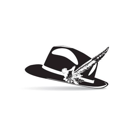 Vector illustration of hunting hat with feather and metal badge with blackcock, oak leaves and acorns. Black and white flat style design