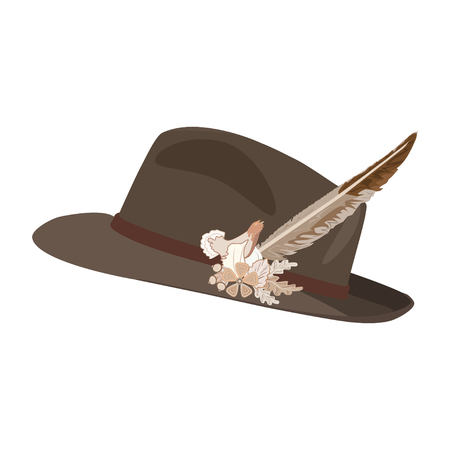 Vector illustration of hunting hat with feather and metal badge with blackcock, oak leaves and acorns. Flat style illustration. Illustration