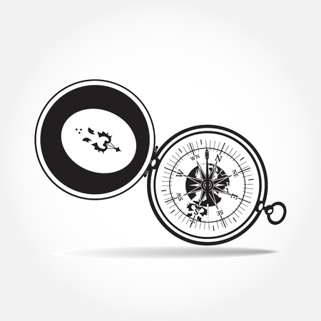 compass rose: Vector illustration of black and white magnetic portable compass in flat style.