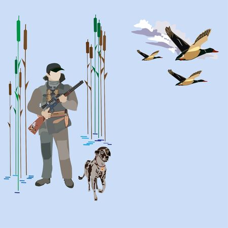 Vector illustration of hunter with rifle, hunting dog and flying ducks. Flat style design elements.