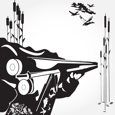 Vector illustration of hunters hand loading a rifle and flying ducks. Black and white flat style design elements.