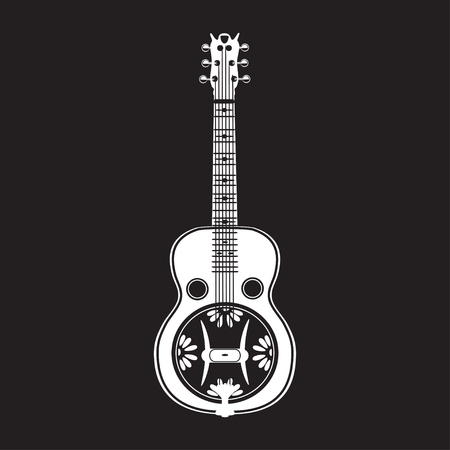 the resonator: Vector illustration of resonator guitar isolated on black background. White resophonic guitar in flat style. Bluegrass and country music.
