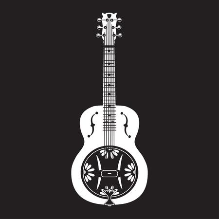 the resonator: Vector illustration of white dobro, american resonator guitar isolated on black background. Flat style design. Stock Photo