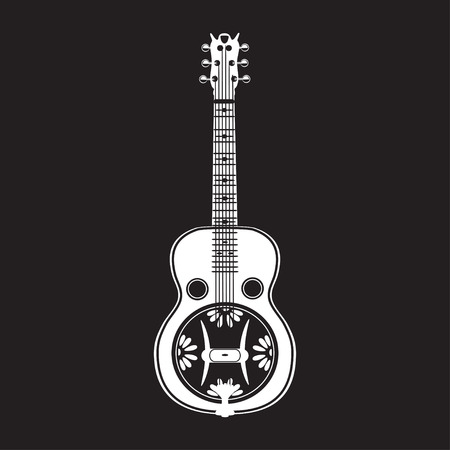 Vector illustration of resonator guitar isolated on black background. White resophonic guitar in flat style. Bluegrass and country music.