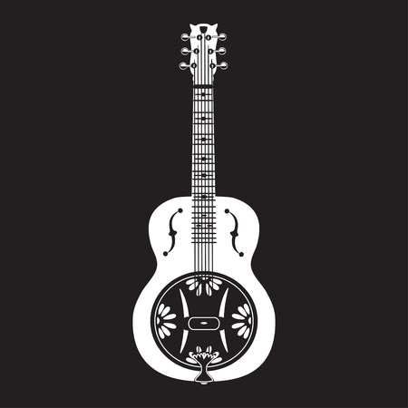Vector illustration of white dobro, american resonator guitar isolated on black background. Flat style design. Illustration