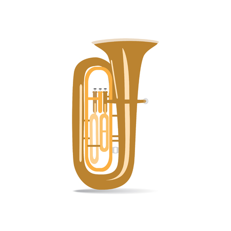 Tuba isolated on white background, vector illustration. Wind brass musical instrument.