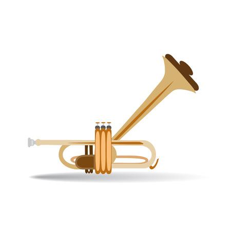 Trumpet isolated on white background, vector illustration. Wind brass musical instrument in flat style.