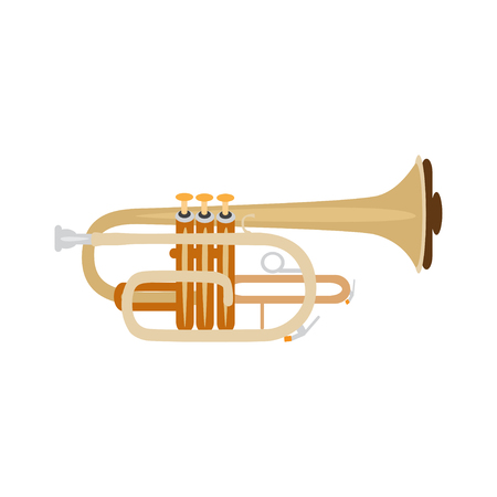 Trumpet isolated on white background, vector illustration. Wind brass musical instrument.