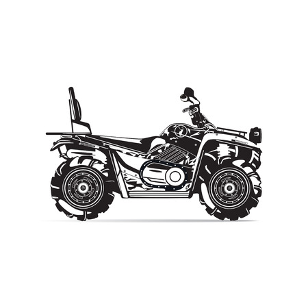 Vector illustration of quad bike isolated on white background. All-terrain vehicle, black and white flat style design.