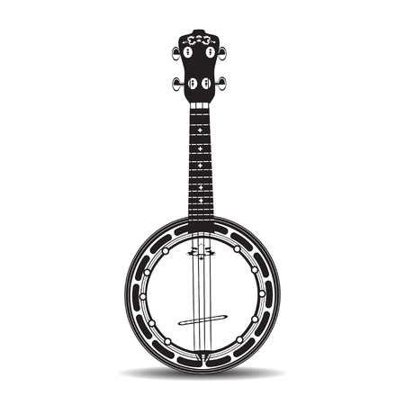 Vector illustration of banjo isolated on a white background. Black and white Banjo, musical instrument in flat style.