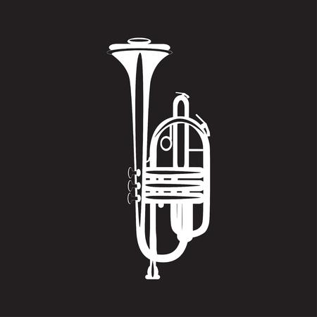 Tromba bianca isolato su sfondo nero, illustrazione vettoriale. Strumento musicale ottone a vento in stile piatto. Archivio Fotografico - 80035338