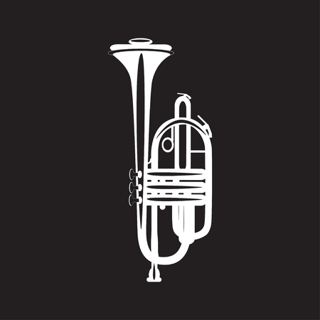 piccolo: White trumpet isolated on black background, vector illustration. Wind brass musical instrument in flat style.