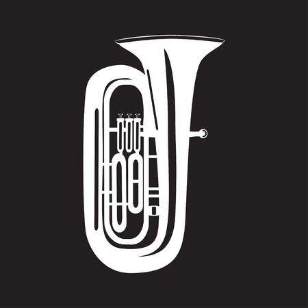 White tuba isolated on black background, vector illustration. Wind brass musical instrument in flat style.