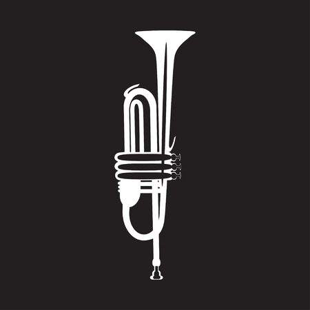 White trumpet isolated on black background, vector illustration. Wind brass musical instrument in flat style.