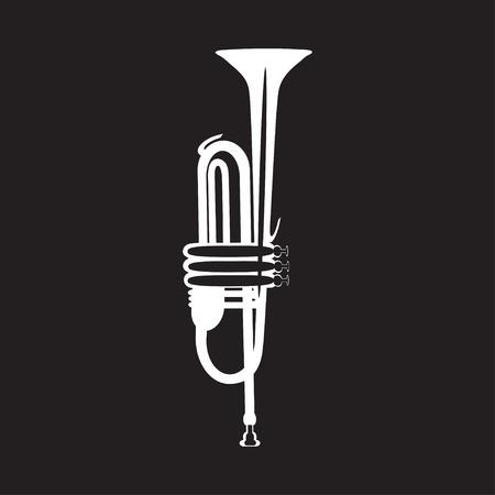 White trumpet isolated on black background, vector illustration. Wind brass musical instrument in flat style. Vektoros illusztráció