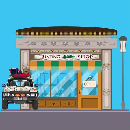 pastime: Vector illustration of hunting shop facade and hunter car. Hunting store exterior and showcase with hunt equipment. Flat style design. Illustration