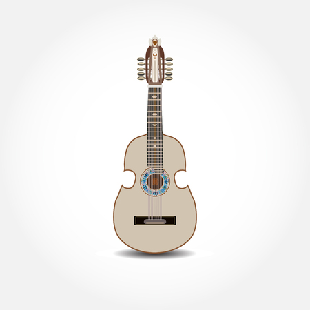 Vector illustration of cuatro, Latin American guitar isolated on white background.