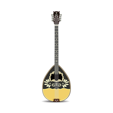 A vector illustration of bouzouki, greek folk musical instrument in flat style.