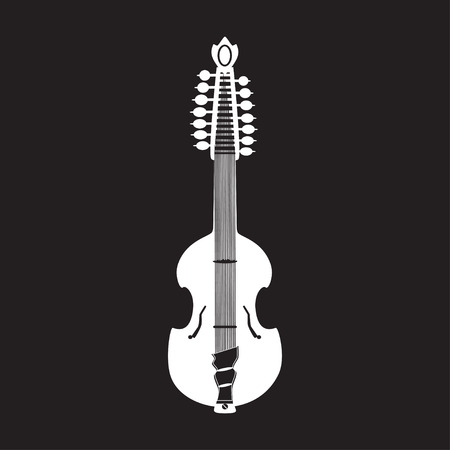 the resonator: Vector illustration of white viola guitar, flat style