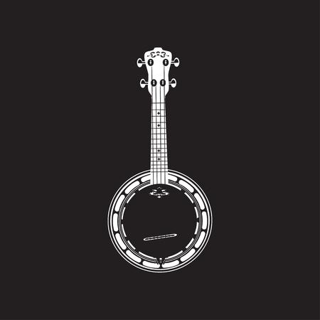Vector flat banjo, white template