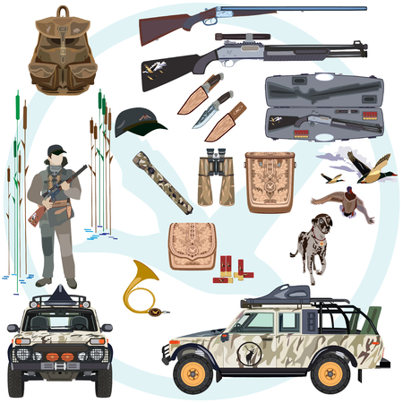cap hunting dog: Vector set of hunting duck flat style design elements Illustration