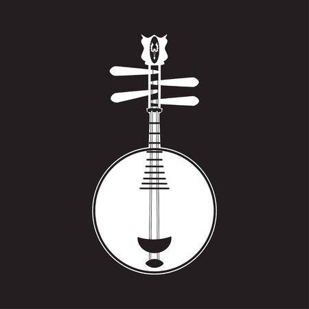 Vector white yueqin template, chinese string musical instrument. Banco de Imagens