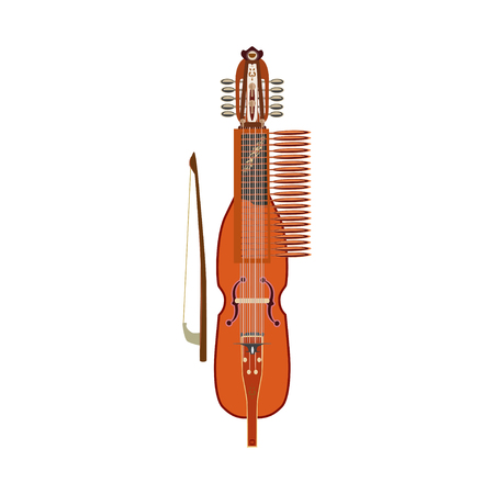 Vector illustration of traditional swedish nyckelharpa, flat design 일러스트