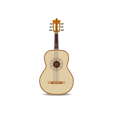 melodic: Vector illustration of acoustic mexican guitar isolated on white background.