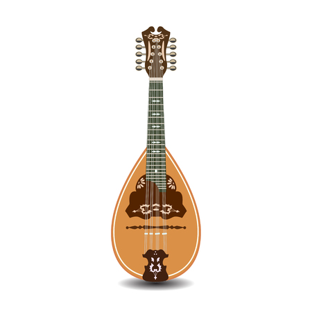 Vector illustration of mandolin isolated on white background.