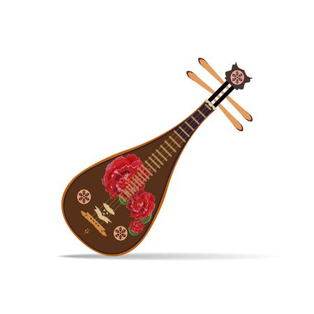 Vector illustration of chinese liuqin isolated on white background Ilustração
