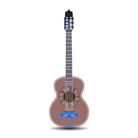 Vector illustration of classic guitar in flat style Vetores