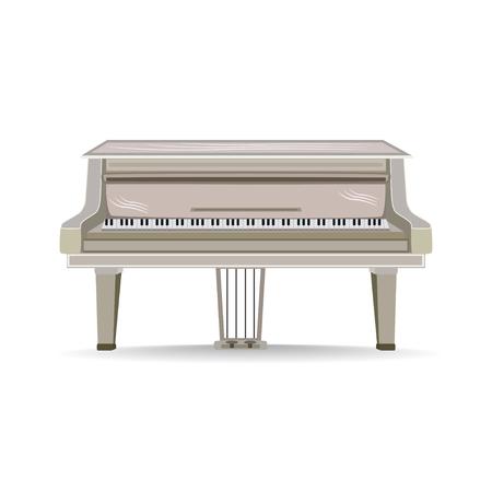 Vector flat illustration of Grand Piano musical instrument. Illustration
