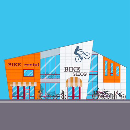 Vector illustration of bike shop in flat style