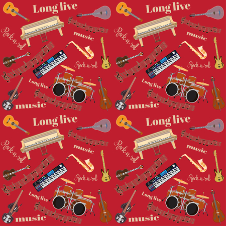 piano roll: Vector Long live Rock and roll seamless pattern