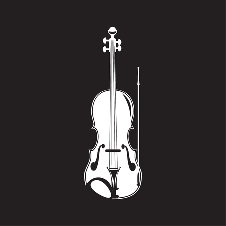 Vector illustration of violin in flat style