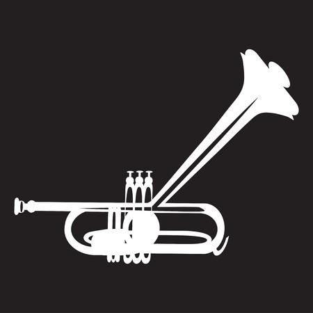 cornet: Trumpet flat style illustration