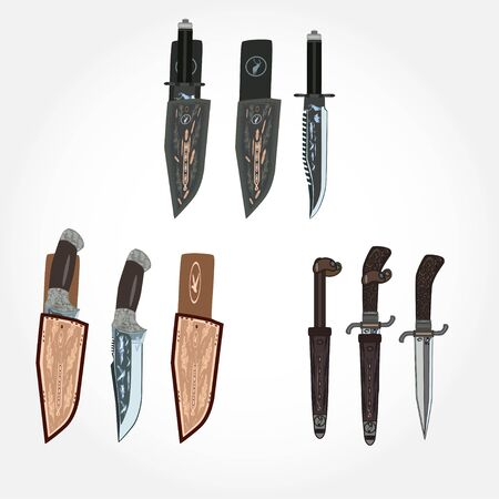 rivets: Vector set of hunting knives and leather sheath, flat style design.