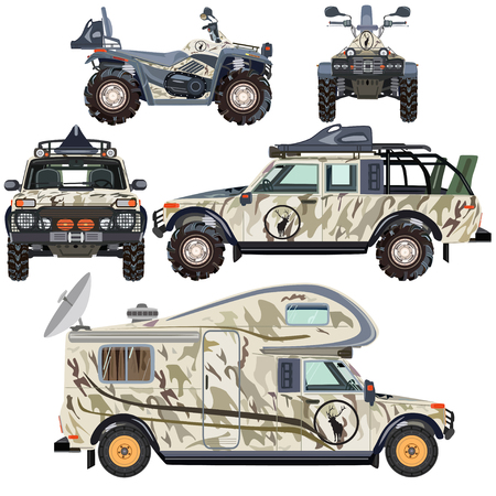 Vector set of land vehicles for travel and hunting in flat style