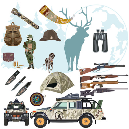jeep: Vector set of hunting deer flat style design elements