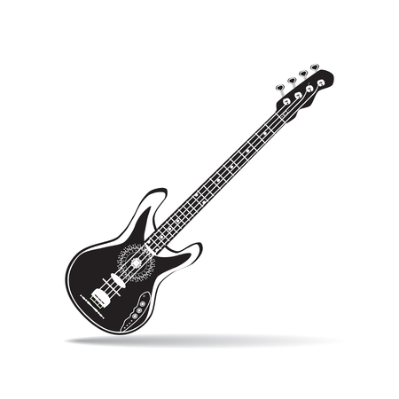 Vector illustration of black and white bass guitar in flat style